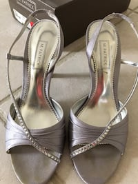 Pair of gray fabric open-toe ankle strap heels Wellington, 33414