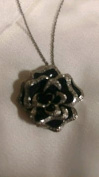 Women's Black and Silver Rose Necklace  Laurel
