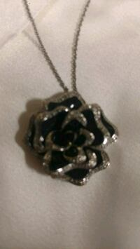 Sterling Silver necklace with Rose pendant Laurel