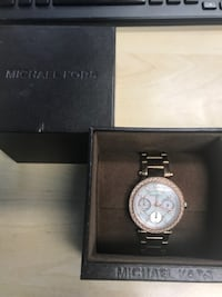 round silver Michael Kors chronograph watch with link bracelet Sugar Hill