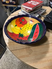 Yellow, blue, and green ceramic fruit bowl 16 mi