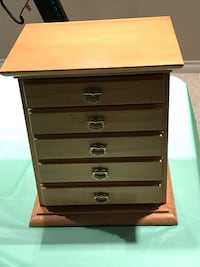 brown wooden 5-drawer jewelry box