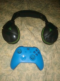 Black Turtle Beach Headset & All Blue Xbox Gaming Controller