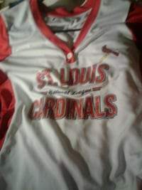 white and red St Louis Cardinals jersey