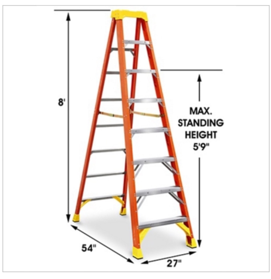 Used Werner 8ft Fiberglass Step Ladder New In Houston