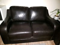 Brown faux loveseat must be removed by two people  Aurora, L4G 2W1