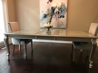 Silver/glass dining room table with two chairs Marietta, 30067