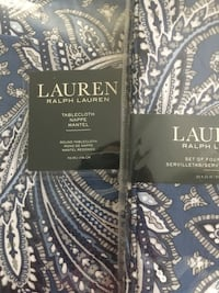 "Lauren by Ralph Lauren (Set of 5) 1-70"" Round Paisley Navy Blue, Lt Blue, White, and Grey Fabric Tablecloth/4-20""x20"" Square Fabric Napkins Washington, 20001"