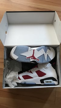 Pair of white-and-red air jordan 6's with box Columbia, 21044