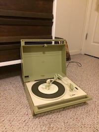 VINTAGE ZENITH SOLID STATE RETRO MINT GREEN TURNTABLE RECORD PLAYER