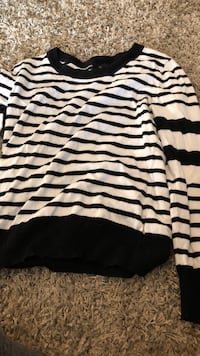 white and black stripe long-sleeve shirt