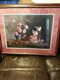 brown wooden framed painting of flowers and doves Sparks, 89431