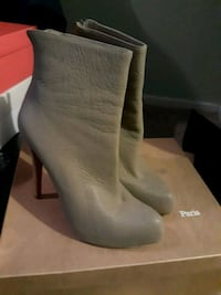 pair of gray suede chunky heeled booties with box Gaithersburg, 20886