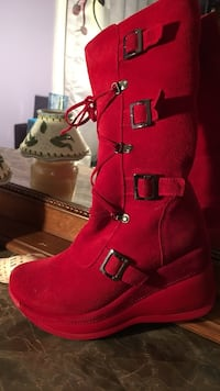 Red suede wedge almond-toe knee-high boot Lorton, 22079