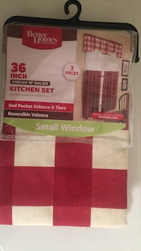 White and red plaid textile