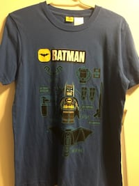 grablue,yellow and black Lego Batman printed t-shirt