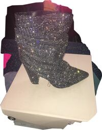 black and gray glittered heeled boots New Orleans, 70119