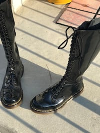 Black patent-leather lace-up knee-high combat boots Woodbridge, 22191