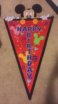 Big felt mickey happy birthday banner Fountain, 80817