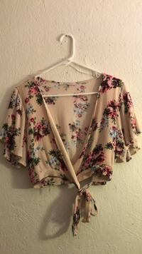 white and purple floral long-sleeved shirt Bell Gardens, 90201