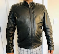 Black solid leather jacket men size M Calgary, T3N 1J9