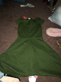green and white stripe sleeveless dress Campbell, 14821