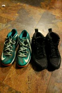 two pairs of green and black Nike basketball shoes Long Beach, 90803