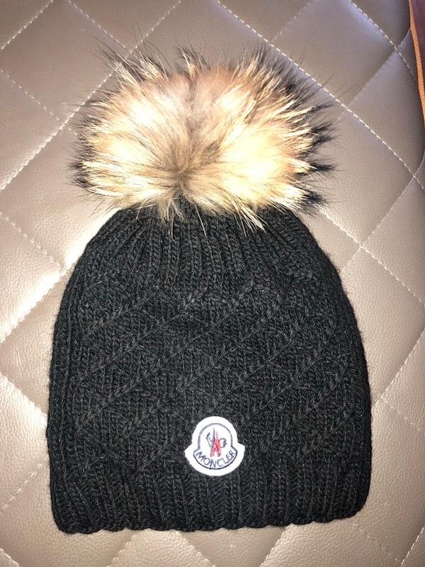 Used Black MONCLER winter hat with Pom Pom for sale in New York - letgo f963a05bd688