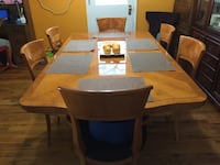 rectangular brown wooden table with six chairs dining set Bay Wood, 11706