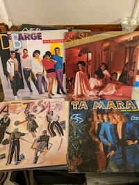 Four dance records on vinyl including DeBarge