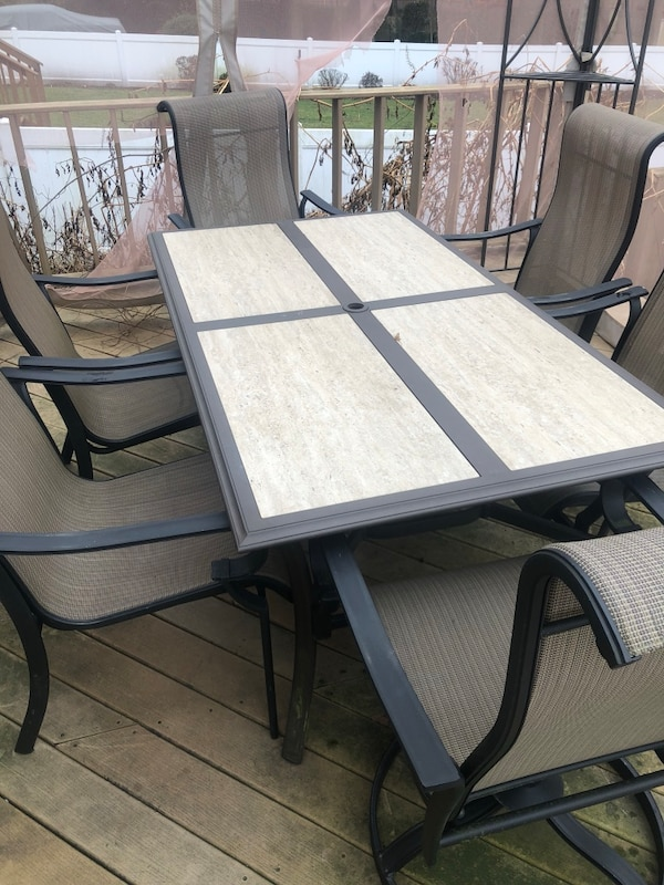 Used Rectangular Black Metal Framed Glass Top Patio Table Set For