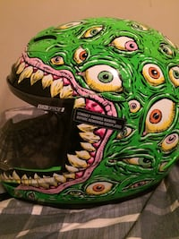 Green monster eye print full face motorcycle helmet size medium