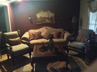 Sofa, two chairs, coffee table, end table, round table, picture and sconces Cherry Hill, 08003