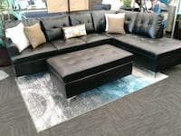 BRAND New Black Leather Sectional Norfolk, 23502