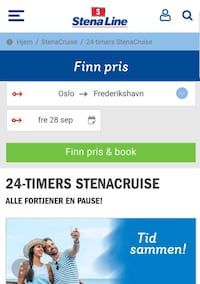 STENA LINE 24 timers cruise 2 pers. Ski, 1405