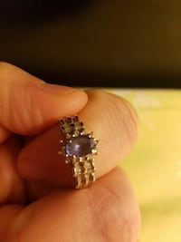 silver-colored studded ring with purple gemstone Bristol, 37620