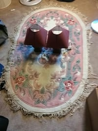 red table lamps and floral fringe area rug Red Deer, T4P 0C6