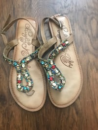 Pair of brown leather sandals Tyler, 75703