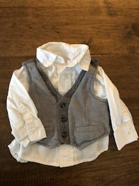 3-6 month vest and dress shirt