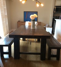 Custom built turnbuckle farmhouse table and nenches Mississauga, L5L 1P7