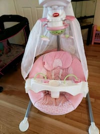 baby's white and pink cradle and swing Brampton, L6Y