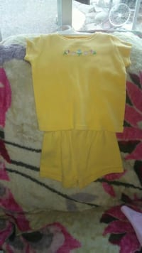 Yellow top and yellow shorts
