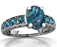 Ring Size 10 Real 925 Silver Blue Topaz Stone Cabot, 72023