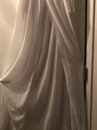 White maternity off shoulder chiffon gown long sleeve front photography dress Dallas, 75202
