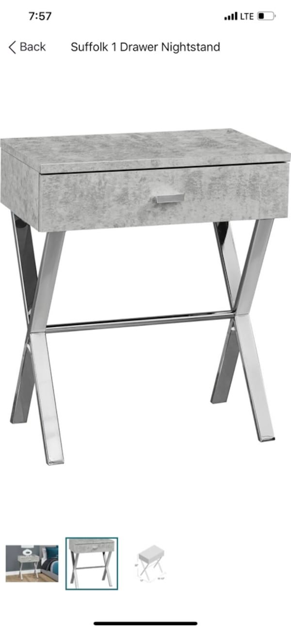 Stylish Gray & Silver Nightstands (2) 6fc32e4d-bd14-42b1-973e-30d6714e379d
