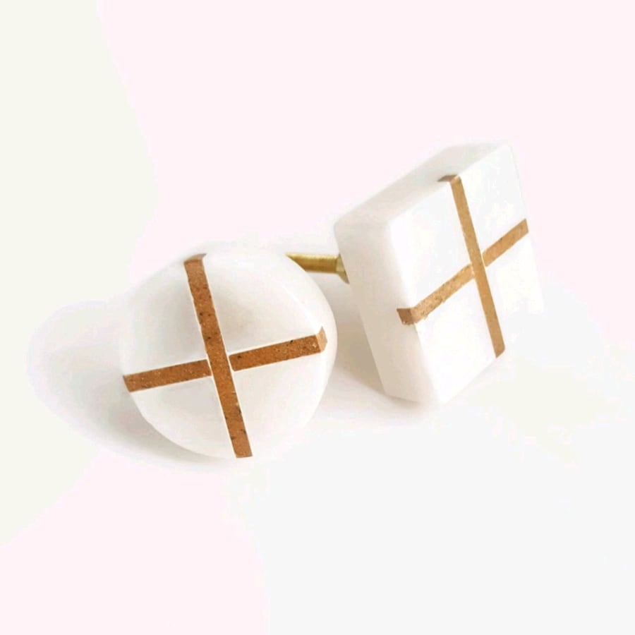 MARBLE INLAY KNOBS, SET OF 4