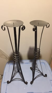 Two Grey metal base candle holders Pickering, L1W 3K4
