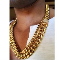 Heavy Iced Out Jewelry Men's  Gold and Silver Tone Cuban Chain Necklace New City, 10956