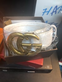 Belt: GUCCi white leather Size 36-40 Gaithersburg, 20879