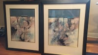 Two black wooden framed abstract paintings.   Lake Barrington, 60010